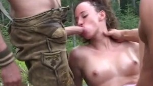 rough german threesome in nature