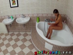 Girlfriends Perfect brunette with big tits seduces stunning blonde in the bath