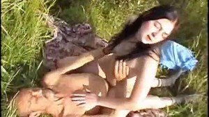 sexy horny brunette college student lets lucky older guy fuck her hard outside in field!!