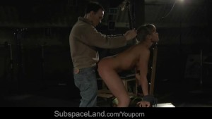 Blonde sexy slave dominated and hard fucked in a obscure attick