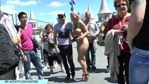 Crazy blonde Susanne has fun on public streets