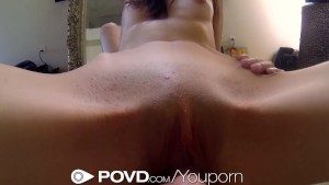 POVd Pretty brunette get fucked in front of mirror