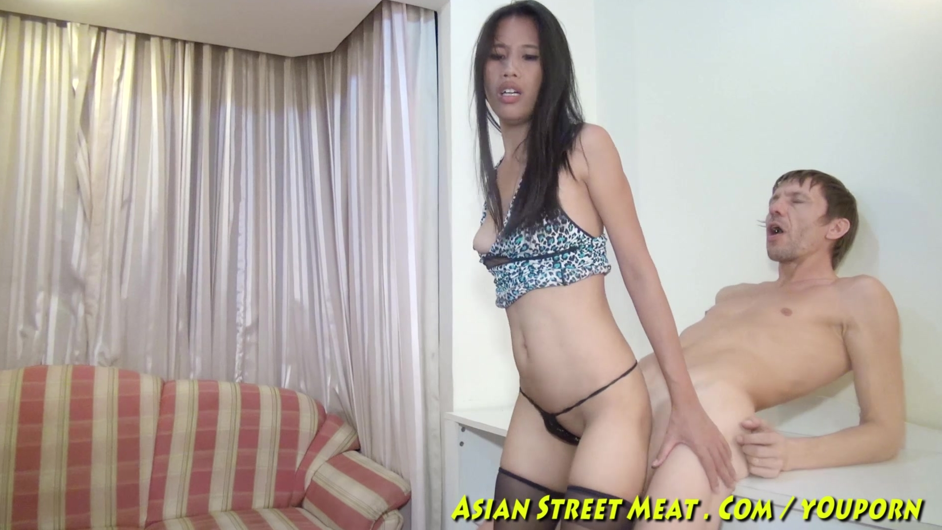 Bobbing anal asian slapper in blue leopard skin 8