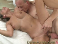 DaneJones Silver haired beauty enjoys passionate oral and sex