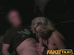 FakeTaxi MILF with huge juggs tits wanks the driver on backseat