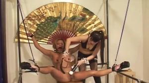 Sexy Japanese domina torments her horny slavegirl