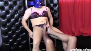 Hot Milf teases sissys big cock with her nylon feet to make him spunk