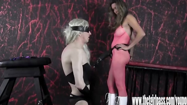 Femdom spanks and tortures blonde crossdresser with huge strapon cock
