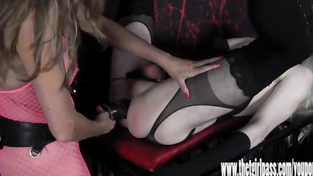 Femdom spanks and tortures blonde crossdresser with huge strapon cock