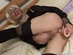 Horny crossdresser wanking big juicy cock and fucking dildo toy