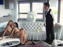 MAGMA FILM Lesbian Asian and busty blonde German babes licking pussy