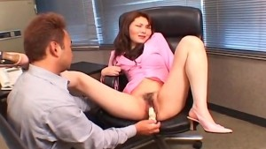 Elegant Japanese gal fucked with a dildo