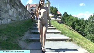 Hot Enni shows her sexy naked body in public