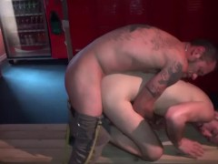 Tattoed guy rims gaped asshole - Damon Doggs Cum Factory