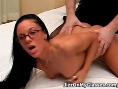 Judy Starr's Glasses got Covered with Sticky Cum after Intense Fucking