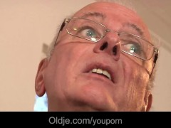 - Old fart fucks cute te...