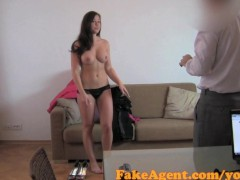 FakeAgent Brunette amateur takes huge facial in Casting interview