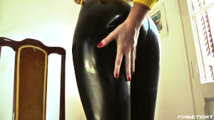 Claudia shines up tight latex pants - Shine Tight Productions