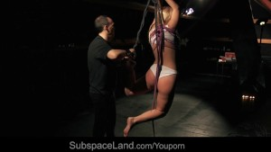Salacious restrained blonde deep toy drilled in bondage