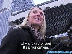 PublicAgent Sexy looking blonde takes cash for sex offer from stranger
