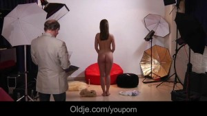 Old erotic photographer fucks cute young model