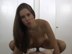 She tosses the condom and rides to creampie then even more!