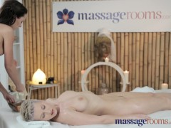 Massage Rooms Horny blonde with big breasts licks and sucks teen pussy