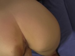 She strips down then encourages you to stroke with dildo demo