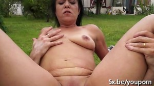 Mature Madalynn analfucked in the garden