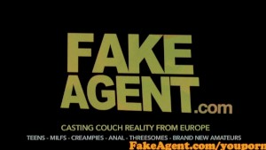 FakeAgent Naughty Reindeer gets spunk over her antlers in Xmas Casting