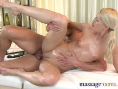 Massage Rooms Athletic blonde has tight body fucked by stud with big cock