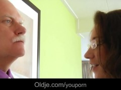 Old majordom fucks his horny young lady boss