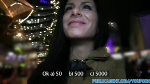 PublicAgent Long black haired sexy babe fucking outsoors