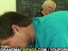 Picture Very old teacher is pounded by two boys