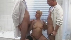 Busty amateur blonde anal threesome in the bathroom with facials