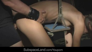 Skinny submissive hard used in the basement