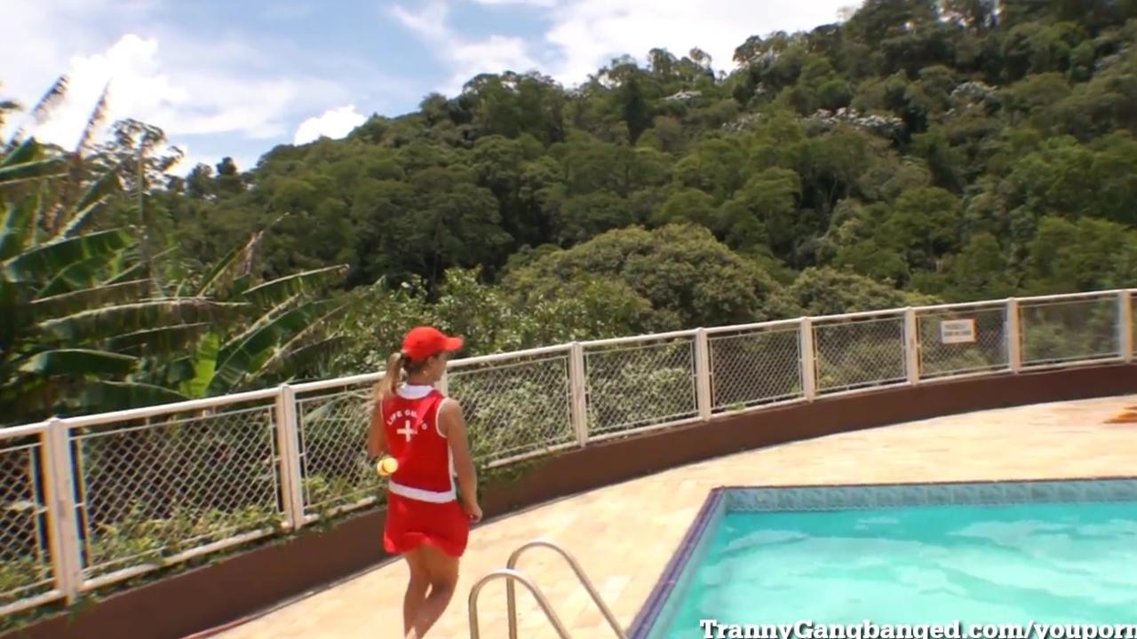 Gangbanged By 6 Tranny Lifeguards