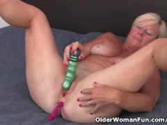 Grandma pushes a dildo... video