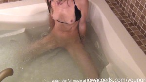 naughty naked bathroom time with simulated blowjob