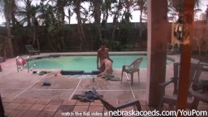 whore sucking two guys dicks in the morning one by the pool other in bed