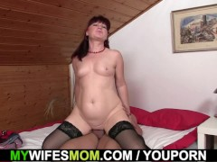 Girlfriends mother uses dildo then rides cock