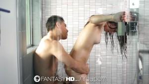 HD FantasyHD - Veronica Radke sucks and fucks hard dick in the shower