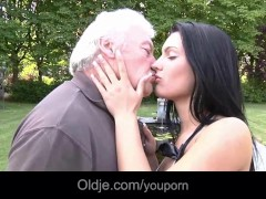 Dirty hot brunette fucking silly grandpa