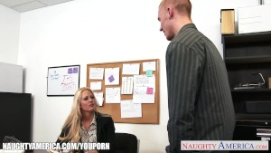 Chesty babe Holly Heart gets nailed in office