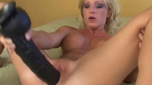 Blonde with a super long brutal dildo