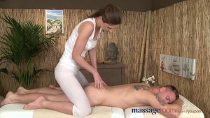 Massage Rooms Brunette goddess cums hard before wanking off big cock