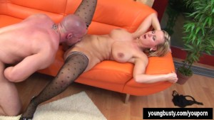 Young Alice gets big tits cummed