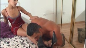 Sensual foreplay for blonde in sexy red lingerie