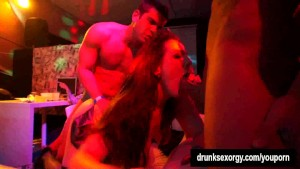 Party whores gets fucked in public