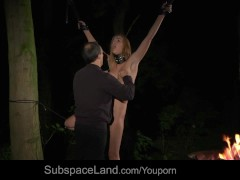 Picture Tiedup slave squirts while Master masturbate...